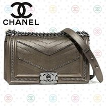 CHANEL BOY CHANEL Calfskin Studded 2WAY Chain Elegant Style Shoulder Bags