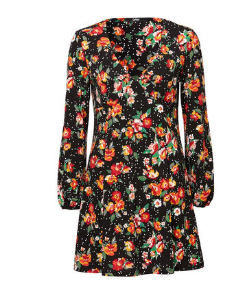 Flower Patterns Nylon V-Neck Long Sleeves Party Style