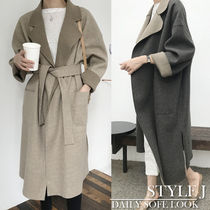 Casual Style Wool Bi-color Plain Long Wrap Coats