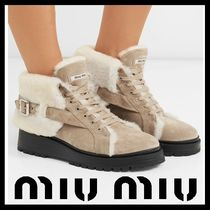 MiuMiu Platform Round Toe Suede Plain Ankle & Booties Boots