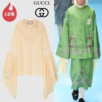 GUCCI Silk Plain Medium Elegant Style Super-long Sleeves