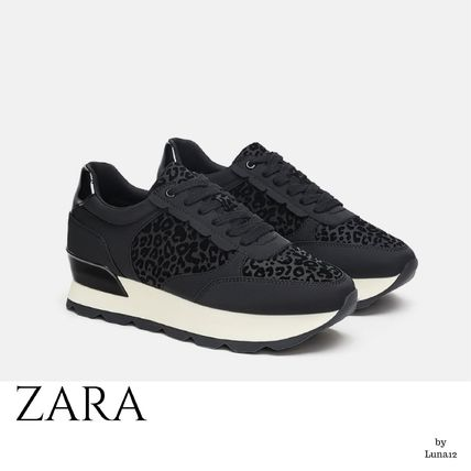 9be20ab66b86 ... ZARA Platform & Wedge Leopard Patterns Platform Casual Style Street  Style Plain ...