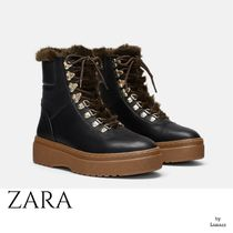ZARA Mountain Boots Casual Style Plain Chunky Heels Outdoor Boots
