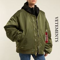 VETEMENTS Blended Fabrics Street Style Oversized Bomber Jackets