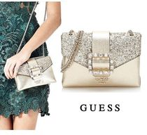 Guess Faux Fur 2WAY Chain Plain Party Style With Jewels Party Bags