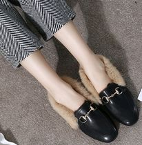 Open Toe Faux Fur Plain Peep Toe Pumps & Mules