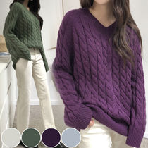 Cable Knit Street Style V-Neck Long Sleeves Plain Medium