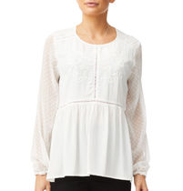 Sportsgirl Crew Neck Long Sleeves Plain Lace Office Style