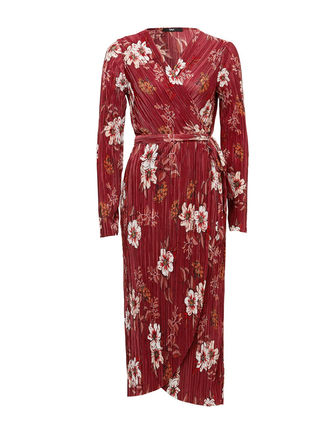 Wrap Dresses Flower Patterns Nylon V-Neck Long Sleeves Long