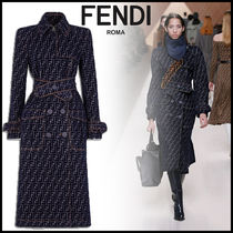 FENDI Monogram Denim Long Elegant Style Trench Coats