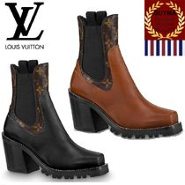 Louis Vuitton Monogram Plain Toe Plain Leather Elegant Style Chunky Heels