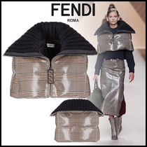 FENDI Short Other Check Patterns Wool Ponchos & Capes