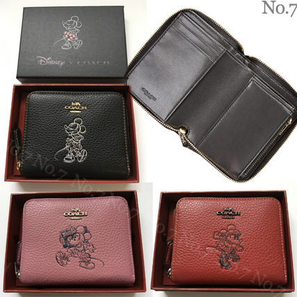 Street Style Collaboration Plain Leather Long Wallet