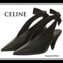 CELINE Plain Leather Elegant Style Pointed Toe Pumps & Mules