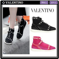 VALENTINO Round Toe Rubber Sole Suede Studded Elegant Style