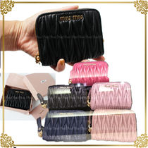 MiuMiu MATELASSE Plain Leather Coin Purses