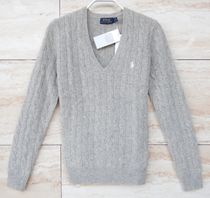 Ralph Lauren Cable Knit Cashmere Street Style V-Neck Long Sleeves Plain