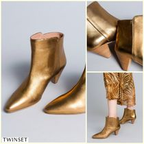 TWIN-SET Plain Leather Elegant Style Ankle & Booties Boots