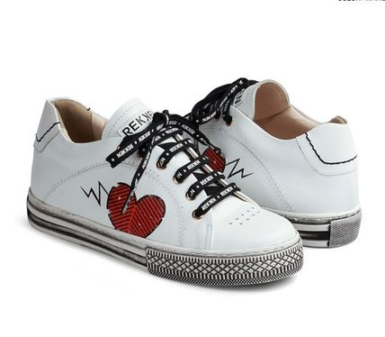 Heart Wedge Casual Style Leather Platform & Wedge Sneakers