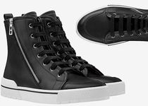 HERMES Street Style Bi-color Plain Leather Sneakers