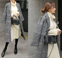 TOM&RABBIT Other Check Patterns Casual Style Wool Long Chester Coats