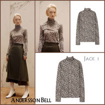 ANDERSSON BELL Short Leopard Patterns Casual Style Long Sleeves Turtlenecks