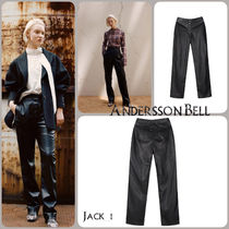 ANDERSSON BELL Faux Fur Plain Elegant Style Leather & Faux Leather Pants