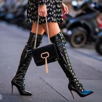 Christian Louboutin Enamel Plain Pin Heels Elegant Style Over-the-Knee Boots