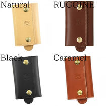 IL BISONTE Unisex Plain Leather Keychains & Holders