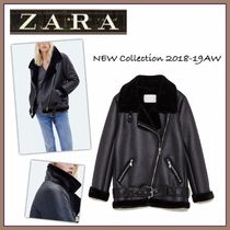 ZARA Casual Style Faux Fur Plain Biker Jackets
