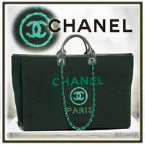 CHANEL DEAUVILLE Lambskin A4 2WAY Chain Plain Elegant Style Khaki Totes