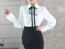 Bi-color Long Sleeves Plain Office Style Shirts & Blouses