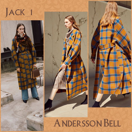 Gingham Casual Style Wool Long Chester Coats