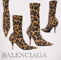 BALENCIAGA Leopard Patterns Pin Heels Ankle & Booties Boots