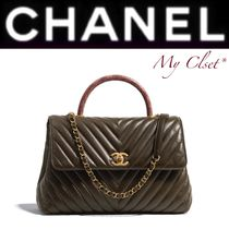 CHANEL ICON Stripes Calfskin 2WAY Chain Plain Oversized Elegant Style
