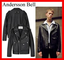 ANDERSSON BELL Unisex Street Style Leather Biker Jackets