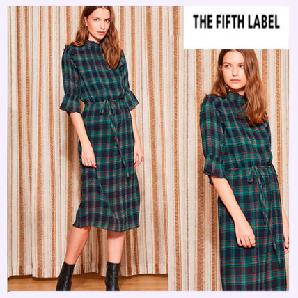 Other Check Patterns Long Sleeves Medium Dresses