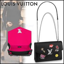 Louis Vuitton MY LOCKME  Heart Blended Fabrics 2WAY Chain Plain Leather Elegant Style