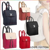 Louis Vuitton LOCKME Blended Fabrics 2WAY Bi-color Plain Leather Elegant Style