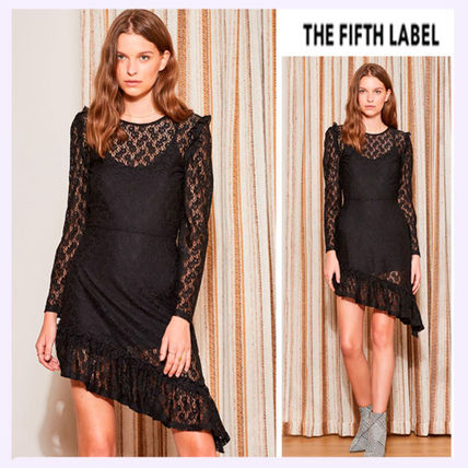 U-Neck Long Sleeves Plain Medium Party Style Lace Dresses