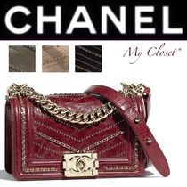 CHANEL BOY CHANEL Stripes Calfskin Studded Street Style 2WAY Chain