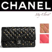 CHANEL MATELASSE Other Check Patterns Lambskin Studded 2WAY Chain With Jewels