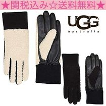 UGG Australia Blended Fabrics Plain Leather Leather & Faux Leather Gloves