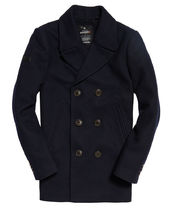 Superdry Short Wool Street Style Plain Peacoats Coats