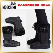 Love Moschino Heart Round Toe Rubber Sole Faux Fur Blended Fabrics Plain