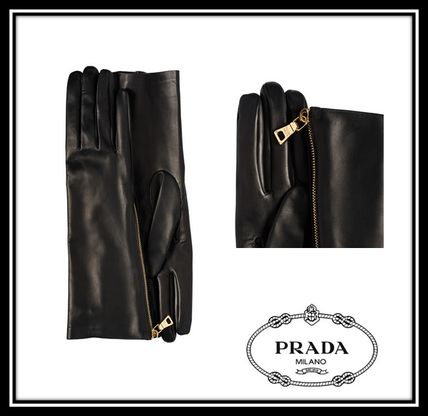 PRADA Leather & Faux Leather Plain Leather Leather & Faux Leather Gloves