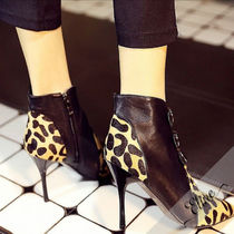 Leopard Patterns Leather Pin Heels Ankle & Booties Boots