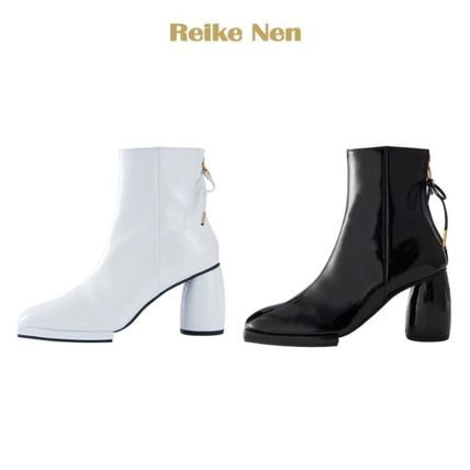 Square Toe Enamel Plain Block Heels Ankle & Booties Boots