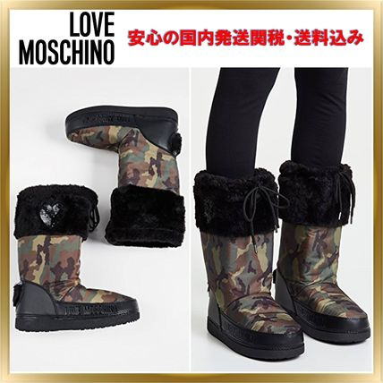 Heart Camouflage Round Toe Rubber Sole Casual Style Faux Fur