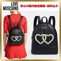 Love Moschino Heart Faux Fur Plain Elegant Style Backpacks